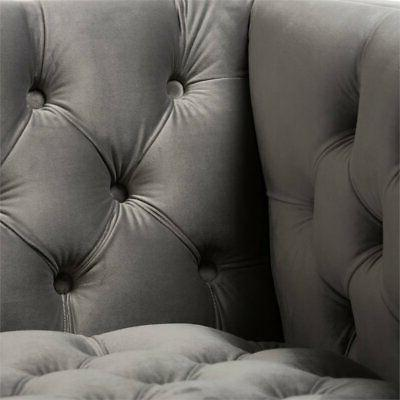 Baxton Velvet Tufted Lounge Grey