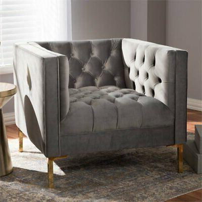 Tufted Lounge Chair Grey