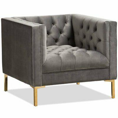 zanetta velvet tufted lounge chair in grey