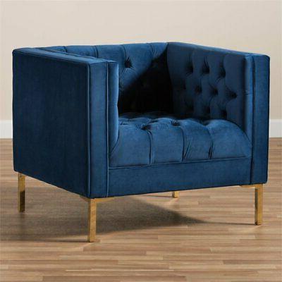 Baxton Studio Zanetta Tufted Lounge Chair Navy