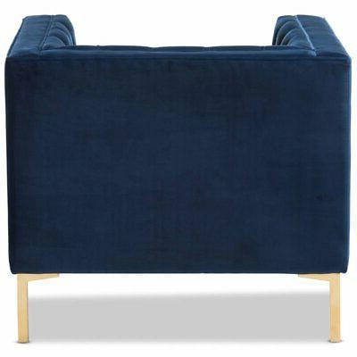 Baxton Studio Zanetta Tufted Chair Navy