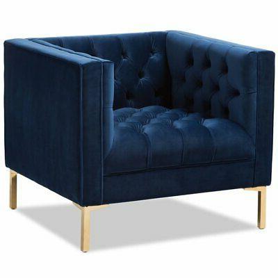 zanetta velvet tufted lounge chair in navy