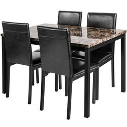 5Pcs Dining Set Kitchen Room Table Set Dining Table and 4 Le