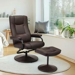 Leather Recliner Chair w/ Ottoman 360 Degree Swivel PU Leath