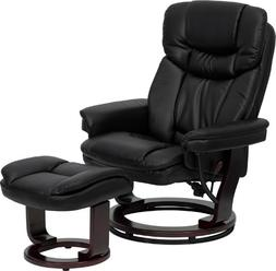 Leather Recliner and Ottoman with Swiveling Mahogany Wood Ba