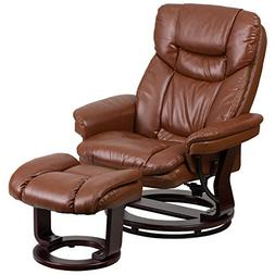 Leather Recliner and Ottoman, Brown