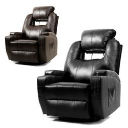Leather Recliner Chair With Heat and Massage Sofa Lounge Swi