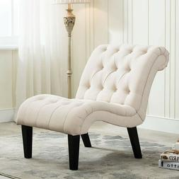 Linen Upholstered Accent Chair Backrest Lounge Chairs Armles