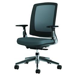 Lota Series Mesh Mid-Back Work Chair, Charcoal Fabric, Polis