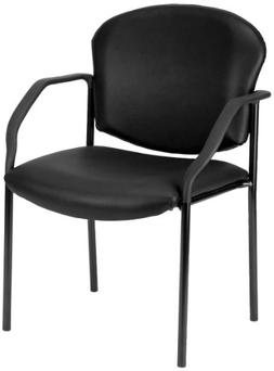 OFM Manor Series Deluxe Vinyl Stacking Guest Chair, Black