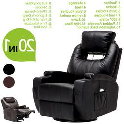 Massage Recliner Sofa Chair Ergonomic Lounge Swivel Heated W