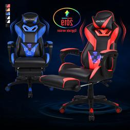 Massage Video Race Style Gaming Chair PU Leather Swivel Recl
