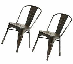 Placeholder Metal Dining Chair with Wood Seat, Set of Two, A