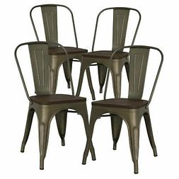 Metal Industrial Chairs with Elm Wood Seat in Bronze
