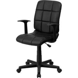Mid-Back Mesh Drafting Stool with Fabric Seat Black/No Arms