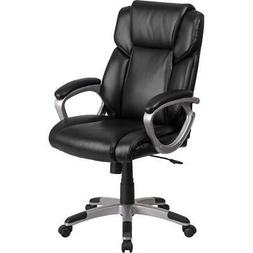 Mid-Back Black LeatherSoft Executive Swivel Office Chair wit