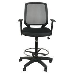 Mid-Back Black Mesh Drafting Chair W/Adjustable Arms Ergonom