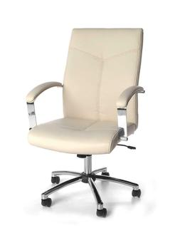 Mid Back Cream Leather Executive Office Chair with Built-In