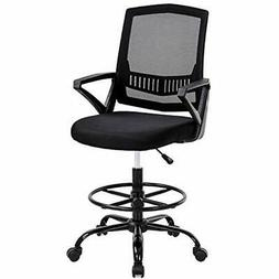 Mid Back Mesh Drafting Chair Office Desk Adjustable Height W