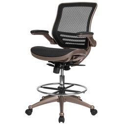 Mid-Back Transparent Black Mesh Drafting Chair w Melrose Gol