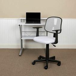 Mid-Back White Mesh Swivel Task Office Chair with Pivot Back