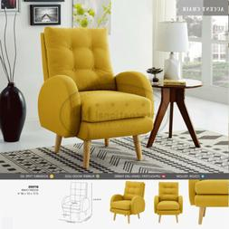Mid-Century Modern Lounge Club Fabric Accent Armchair with S