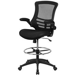 Flash Furniture Mid-Back Black Mesh Drafting Chair with Adju