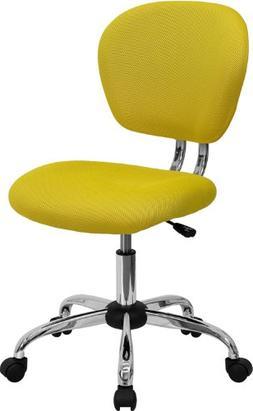 Mid-Back Yellow Mesh Task Chair Chrome Base
