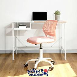 midback office chair swivel rose pink plastic