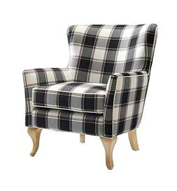 Dorel Living Middlebury Checkered Pattern Accent Chair, Blac