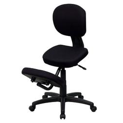 Mobile Ergonomic Kneeling Posture Task Chair in Black Fabric