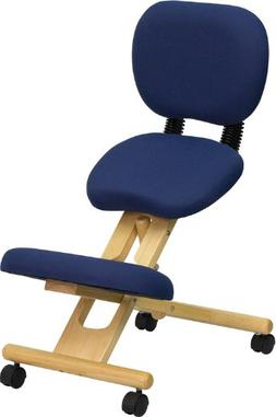 Mobile Wooden Ergonomic Kneeling Posture Chair in Navy Blue