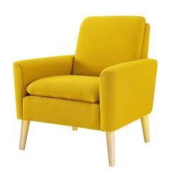 Belleze Modern Accent Chair Roll Arm Linen Living Room Bedro