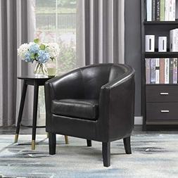 Belleze Modern Arm Club Chair Faux Leather Tub Barrel Style,