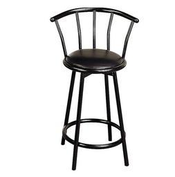 "Modern Black Metal Counter Height Stool 24"" Seat Chair Set o"
