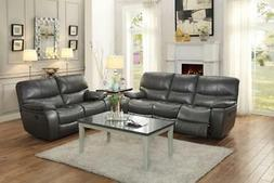 Modern Grey Leather Double Reclining Sofa Set 2 Pcs Homelega