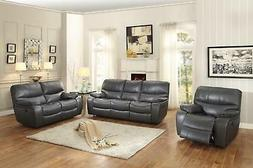 Modern Grey Leather Double Reclining Sofa Set 3Pcs Homelegan