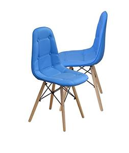 Modern Set of Tufted 2 EAMES Style Chair Natural Wood Legs