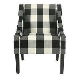 HomePop Modern Swoop Accent Chair - Black Plaid Black Transi
