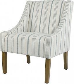 Modern Swoop Accent Chair - Blue Calypso Stripe