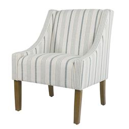 Modern Swoop Accent Chair Blue Calypso Stripe Poly Linen Ble