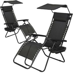 New 2 PCS Zero Gravity Chair Lounge Patio Chairs with canopy