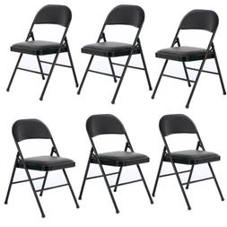 New Folding Chairs set of 4/6 Pack PVC Upholstered Padded Se