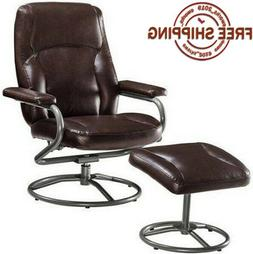New Leather Brown Metal Swivel Seat Furniture Recliner Chair