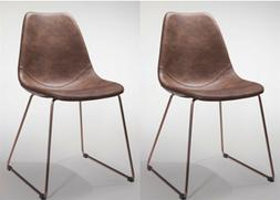 New Set of 2 Retro & Antique Elegant Dining Chair, Brown PVC