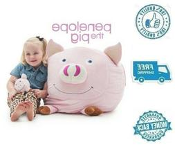 New Small Buddy Bean Bag Chair Pink Pig Stuffed Soft Polyest