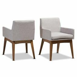 Baxton Studio Nexus Dining Arm Chair in Grayish Beige