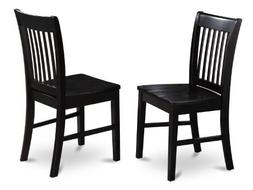 Set of 2 Norfolk dinette kitchen dining chairs with plain wo