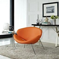 MODWAY Nutshell Upholstered Vinyl Lounge Chair Orange Metal