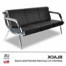 Office Airport Waiting Chair Bench 3-Seat Reception PU Leath